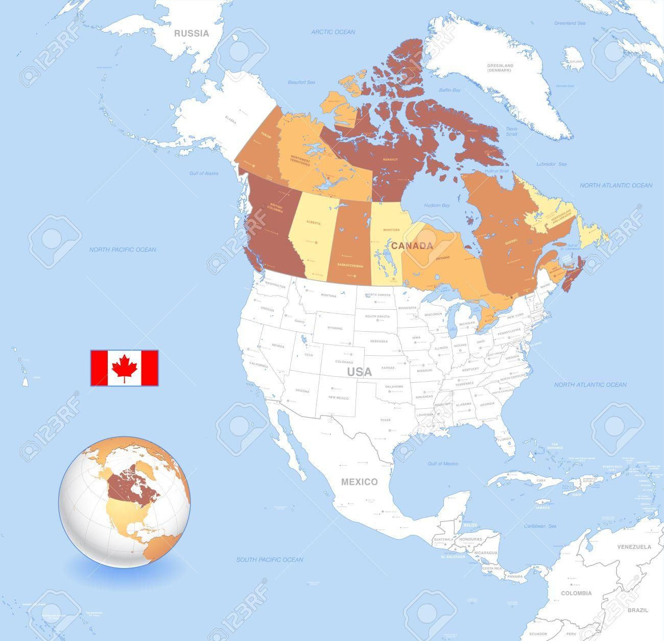 Map Of Canada On Globe.Atlas Map Of Canada Canada Globe Map Northern America Americas