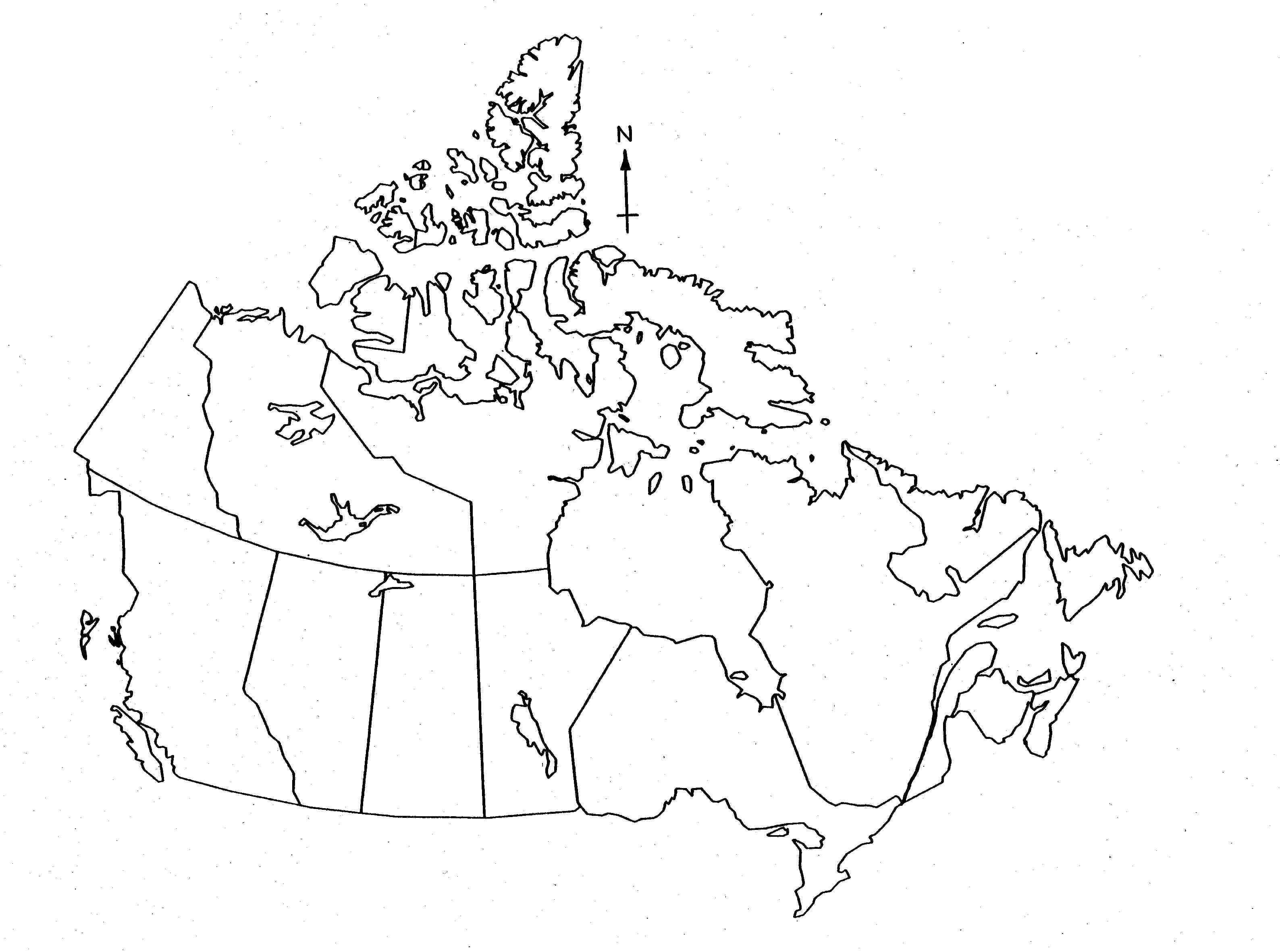 Blank map of Canada for kids - Printable map of Canada for ...