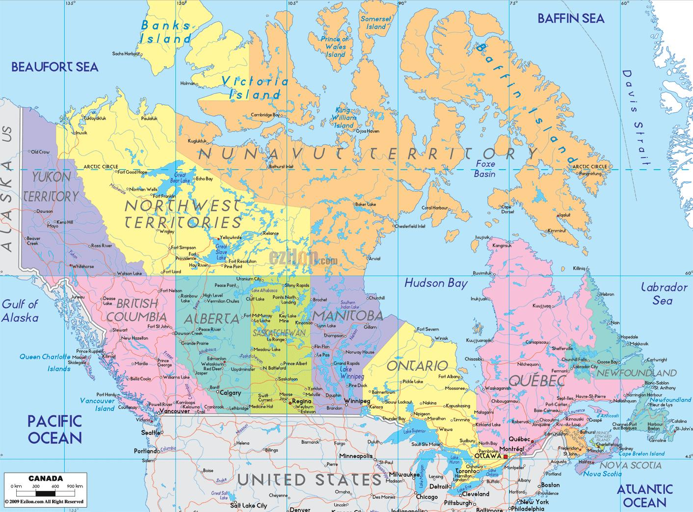Canada cities map - Map of Canada showing cities (Northern America ...