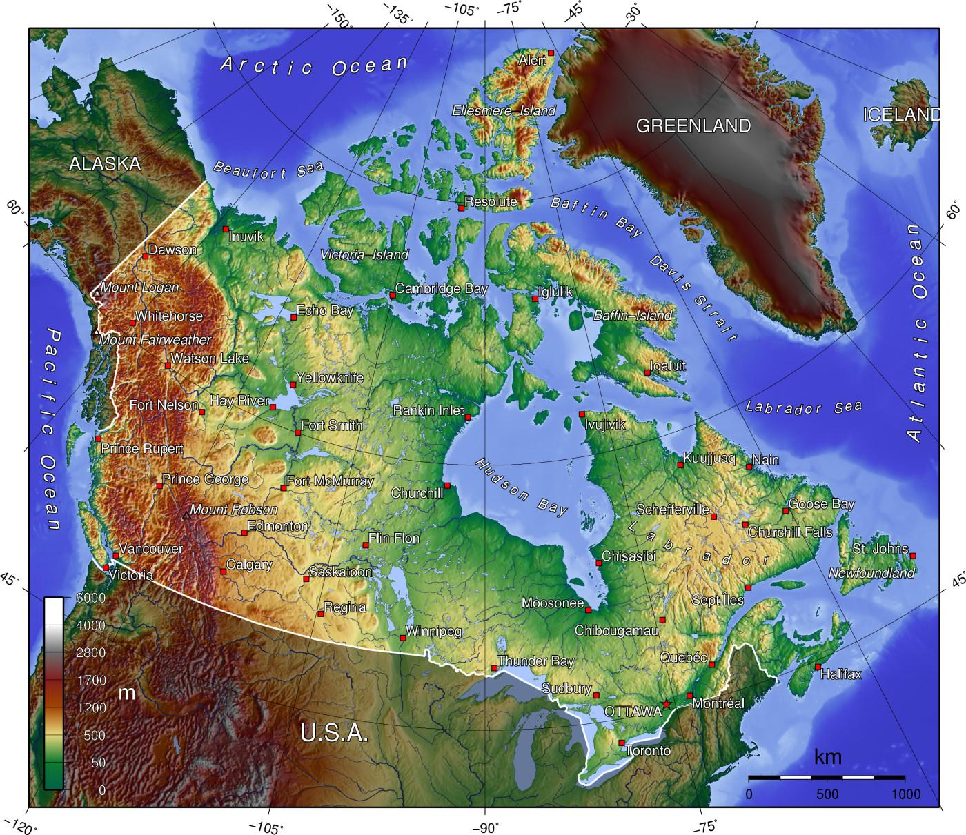Canada elevation map - Map of Canada elevation (Northern ...