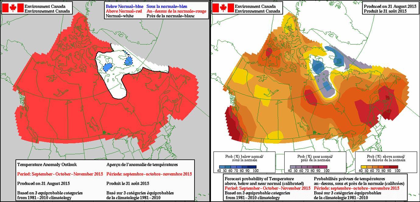 Fall Color Map Canada Canada fall foliage map   Map of Canada fall foliage (Northern