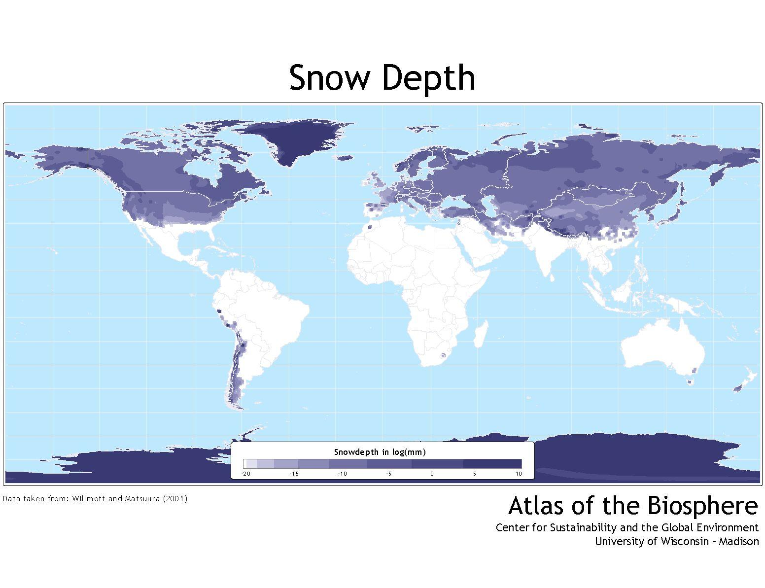 Snow cover map Canada - Map of Canada snow cover (Northern America ...
