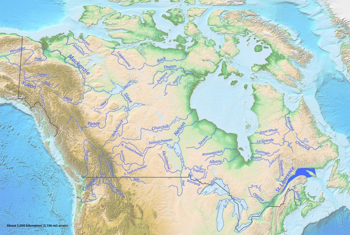 Canada's rivers map
