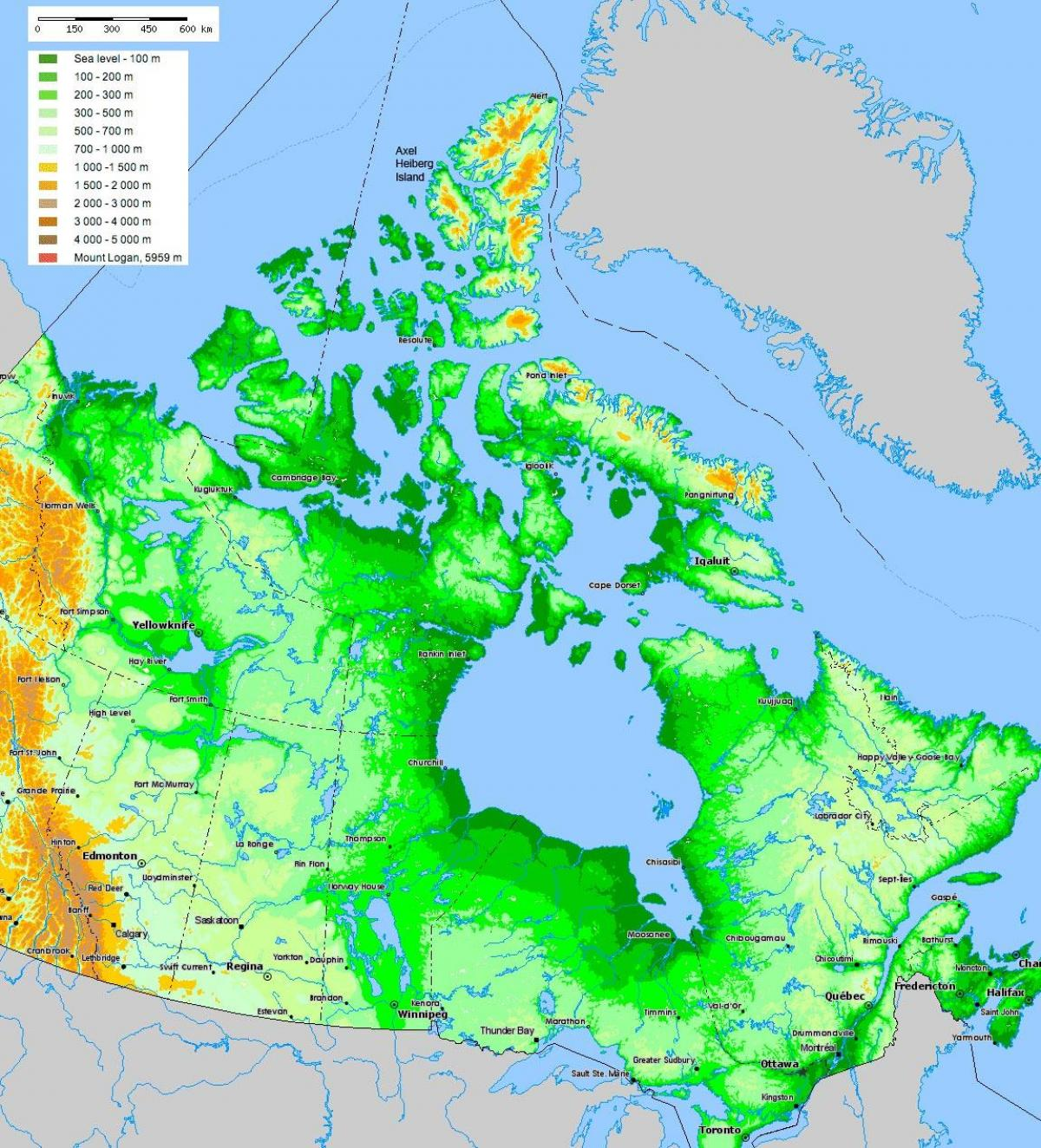 Terrain Map Of Canada on