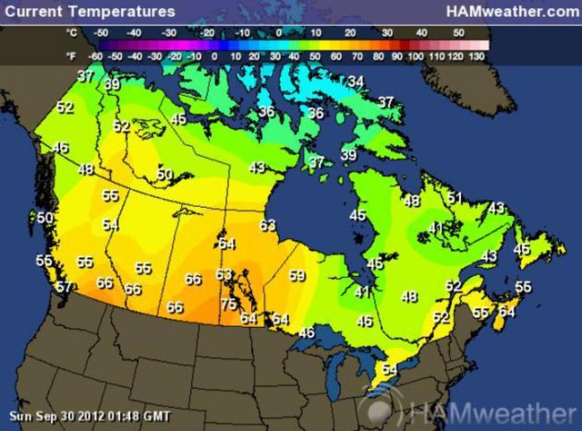 Canada Weather Map Temperature Canada weather map temperature   Environment Canada weather map