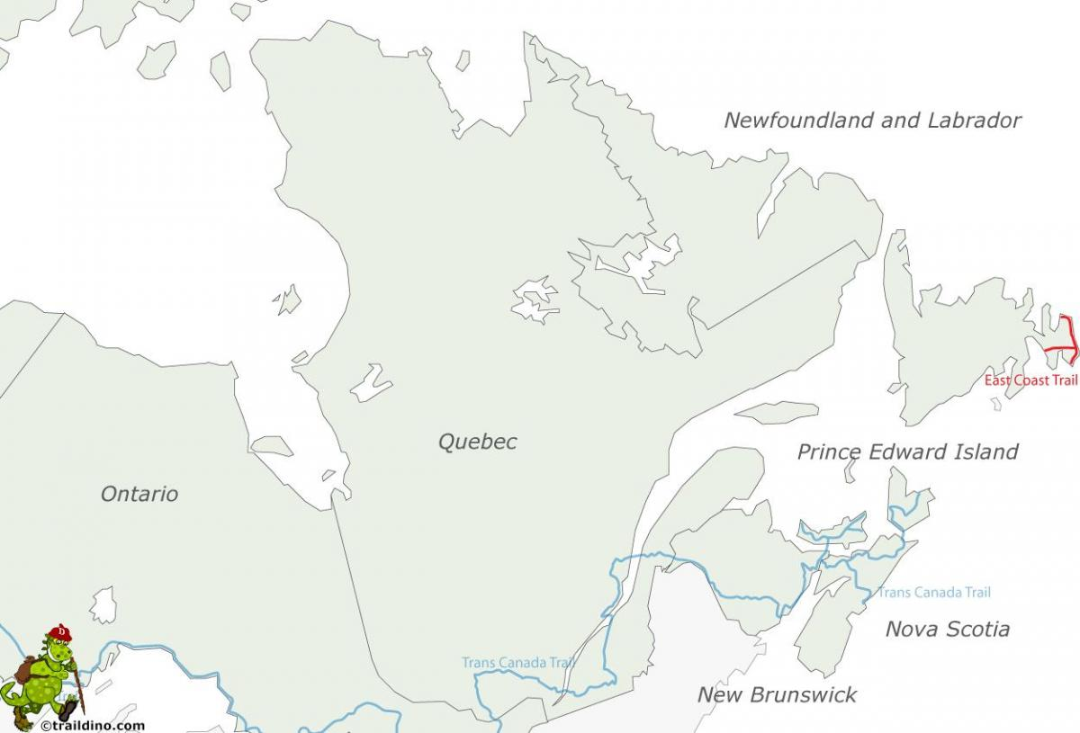 map of east coast and Canada