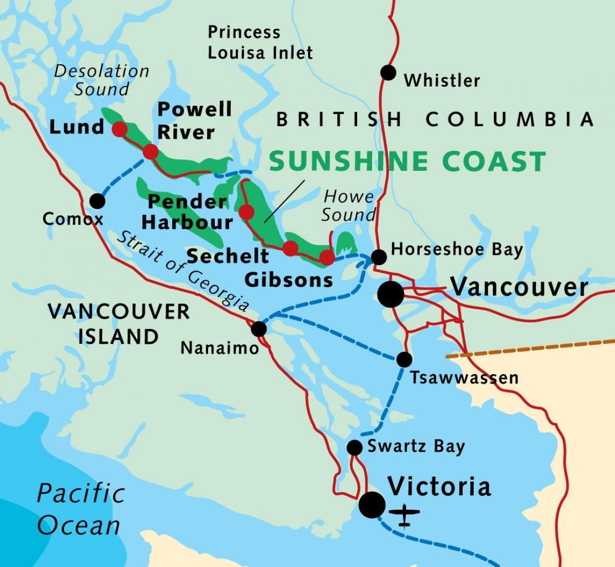 Map Of Sunshine Coast Bc Sunshine coast Canada map   Map of sunshine coast bc Canada  Map Of Sunshine Coast Bc