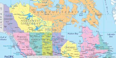 Map of Canada showing cities