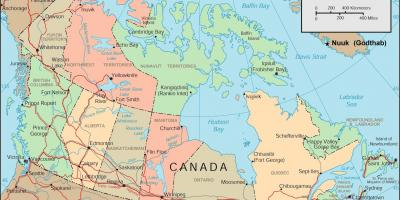 Map of Canada and cities