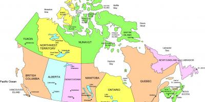 Map of Canada showing states
